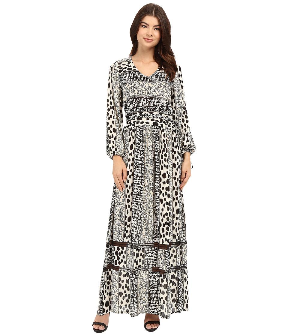 Brigitte Bailey - Veronique Long Sleeve V-Neck Dress (Ivory/Black) Women's Dress