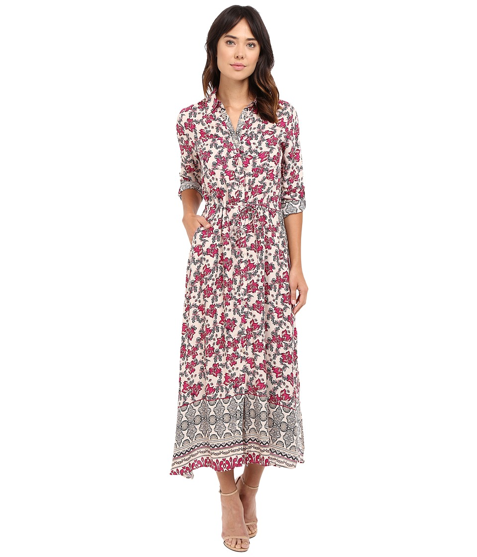 Brigitte Bailey - Eris Printed Dress with Lace Inset (Burgundy) Women's Dress