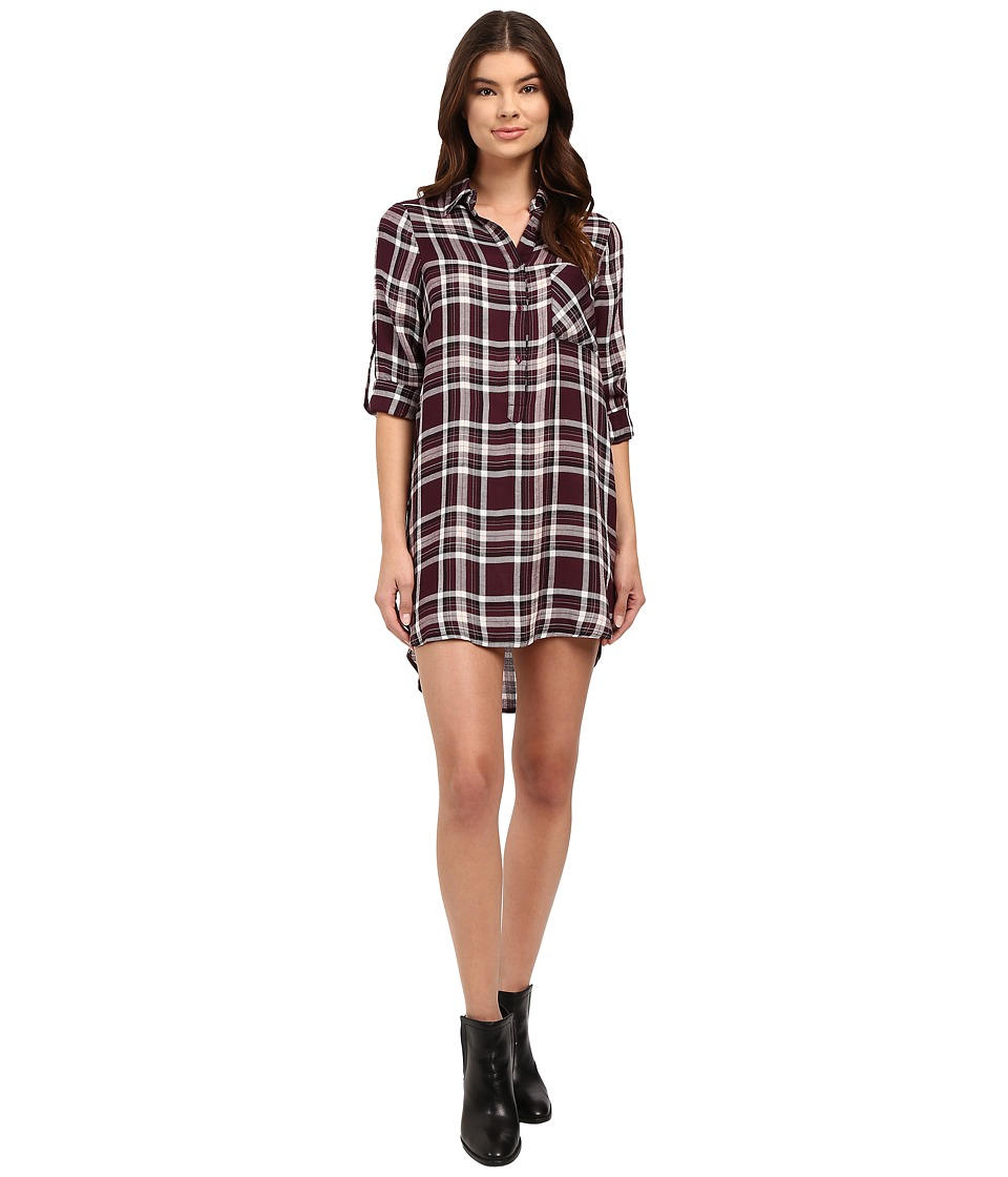Brigitte Bailey - Leyla Boyfriend Shirtdress with Roll Up Hem (Wine) Women's Dress