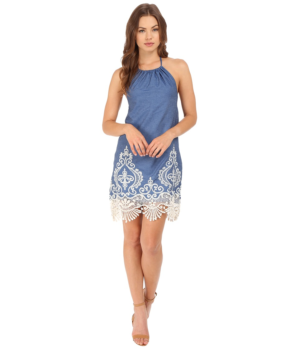 Brigitte Bailey - Riley Halter Crocheted Dress (Denim) Women's Dress