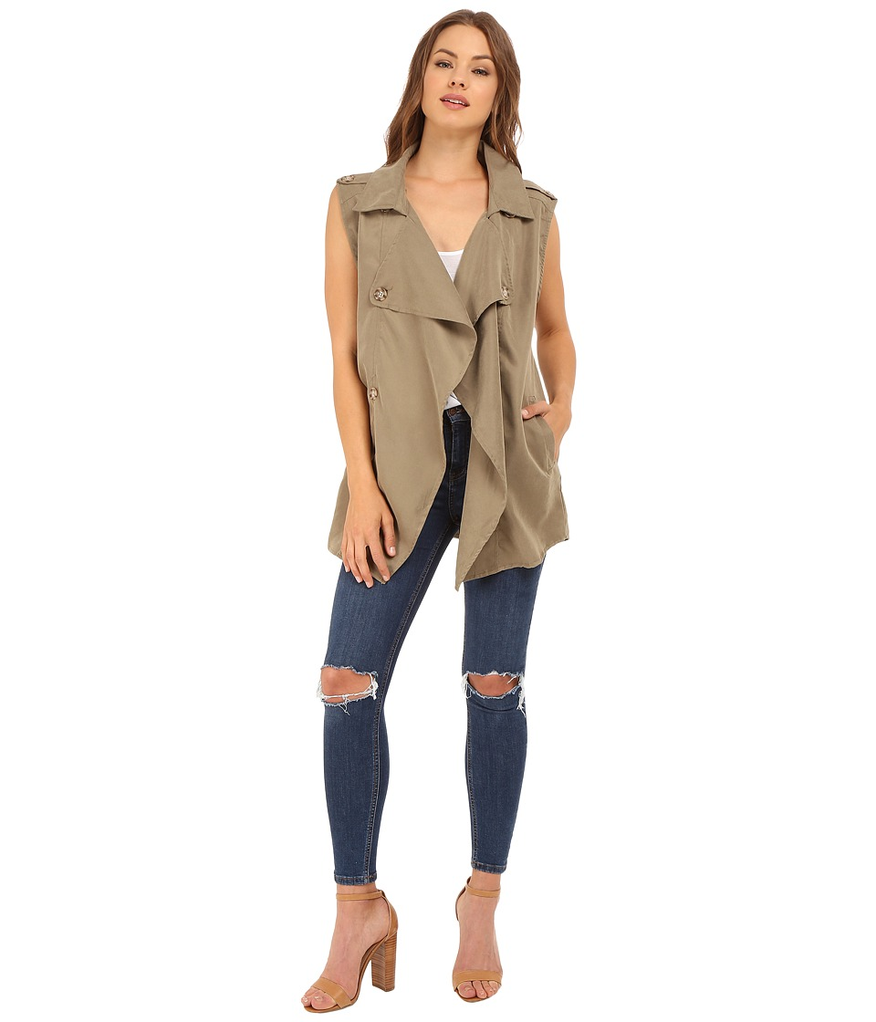 Brigitte Bailey - Isabelle Trench-Style Vest (Olive) Women's Vest