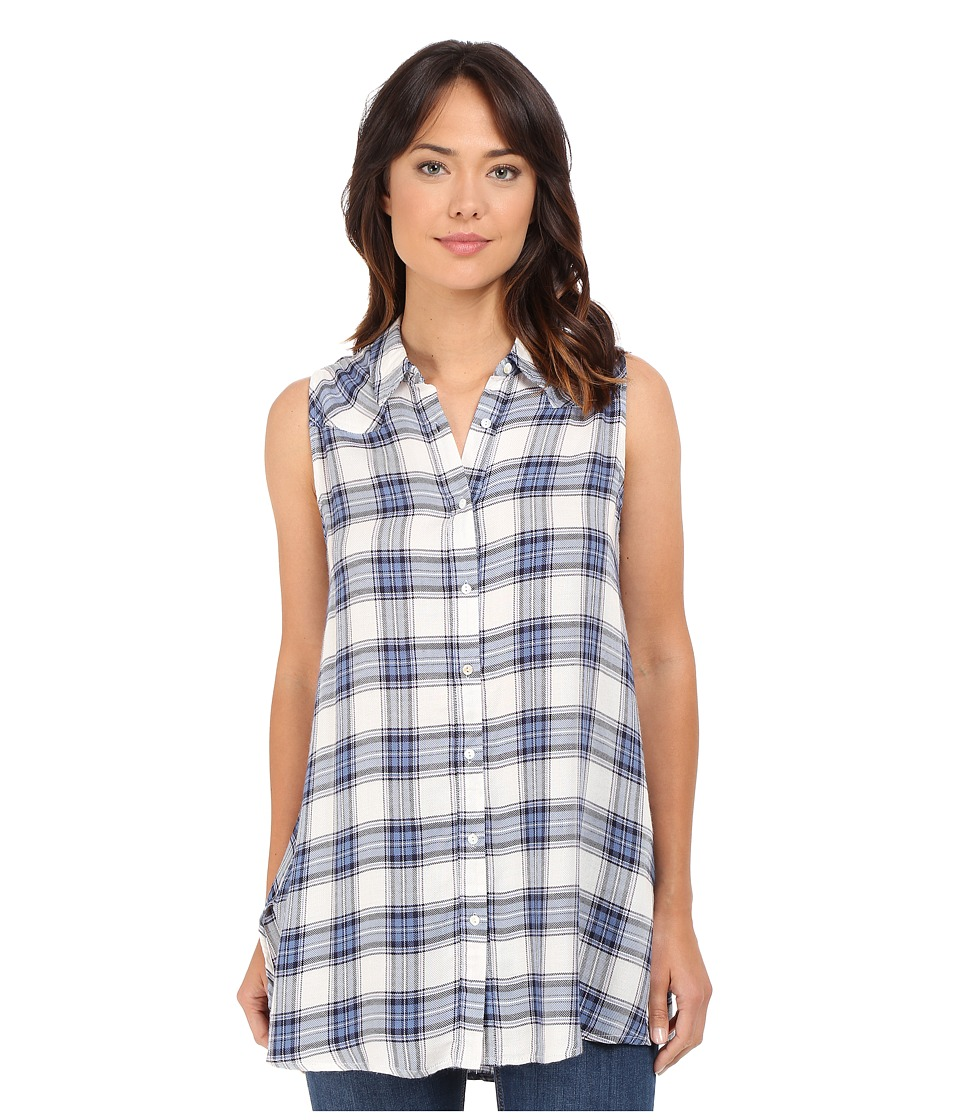 Brigitte Bailey - Helene Plaid Sleeveless Top (Blue/White) Women's Sleeveless