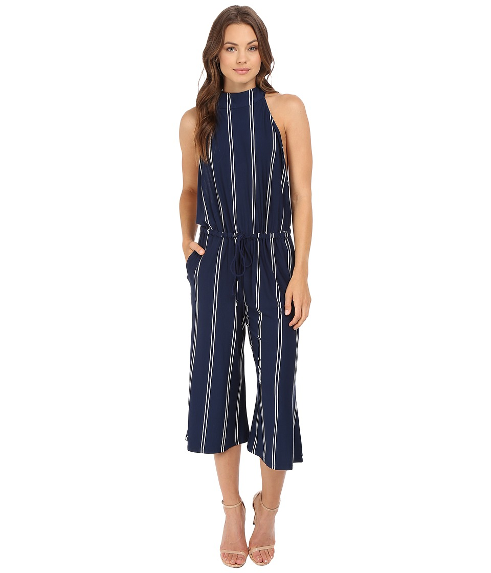 Brigitte Bailey - Wren High Neck Striped Jumper (Navy/White) Women's Jumpsuit & Rompers One Piece