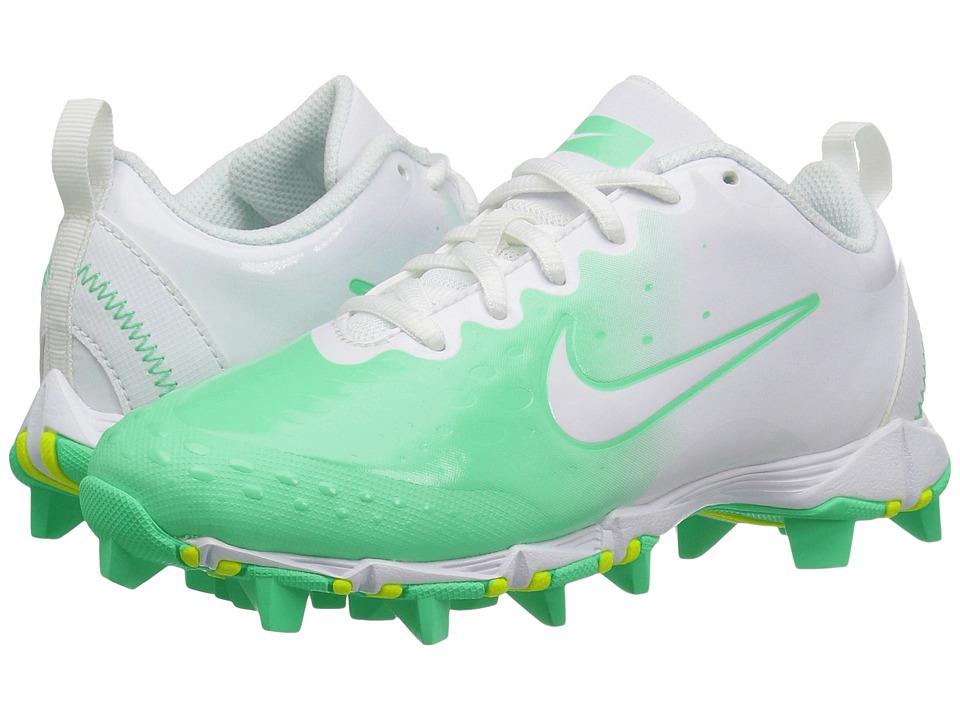 Nike Kids - Hyperdiamond 2 Keystone GG Baseball (Toddler/Little Kid/Big Kid) (White/Green Glow) Kids Shoes