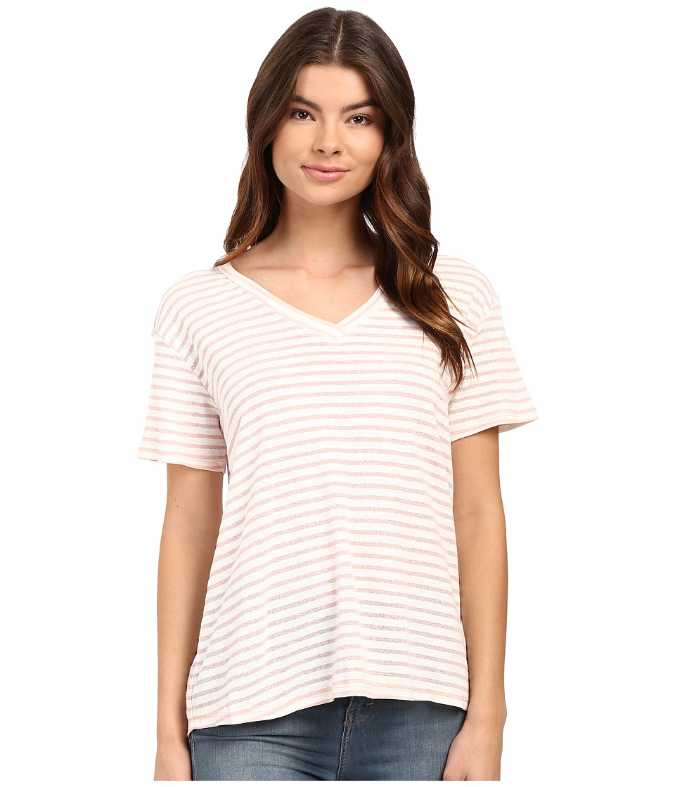 Culture Phit Lia V-Neck Short Sleeve T-Shirt (Pink/White) Women