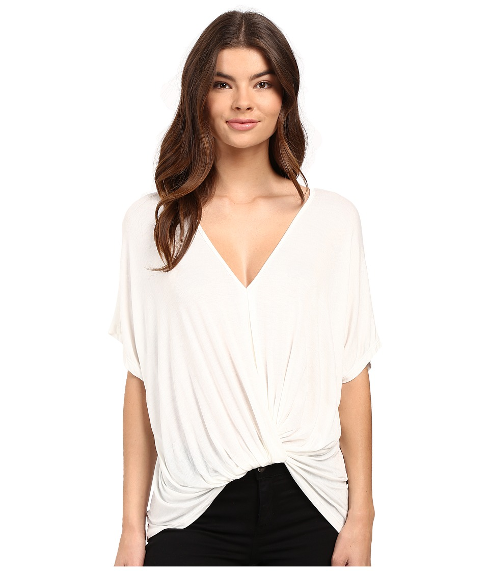 Culture Phit - Aziza Knot Detail Short Sleeve Top (Off-White) Women's Clothing