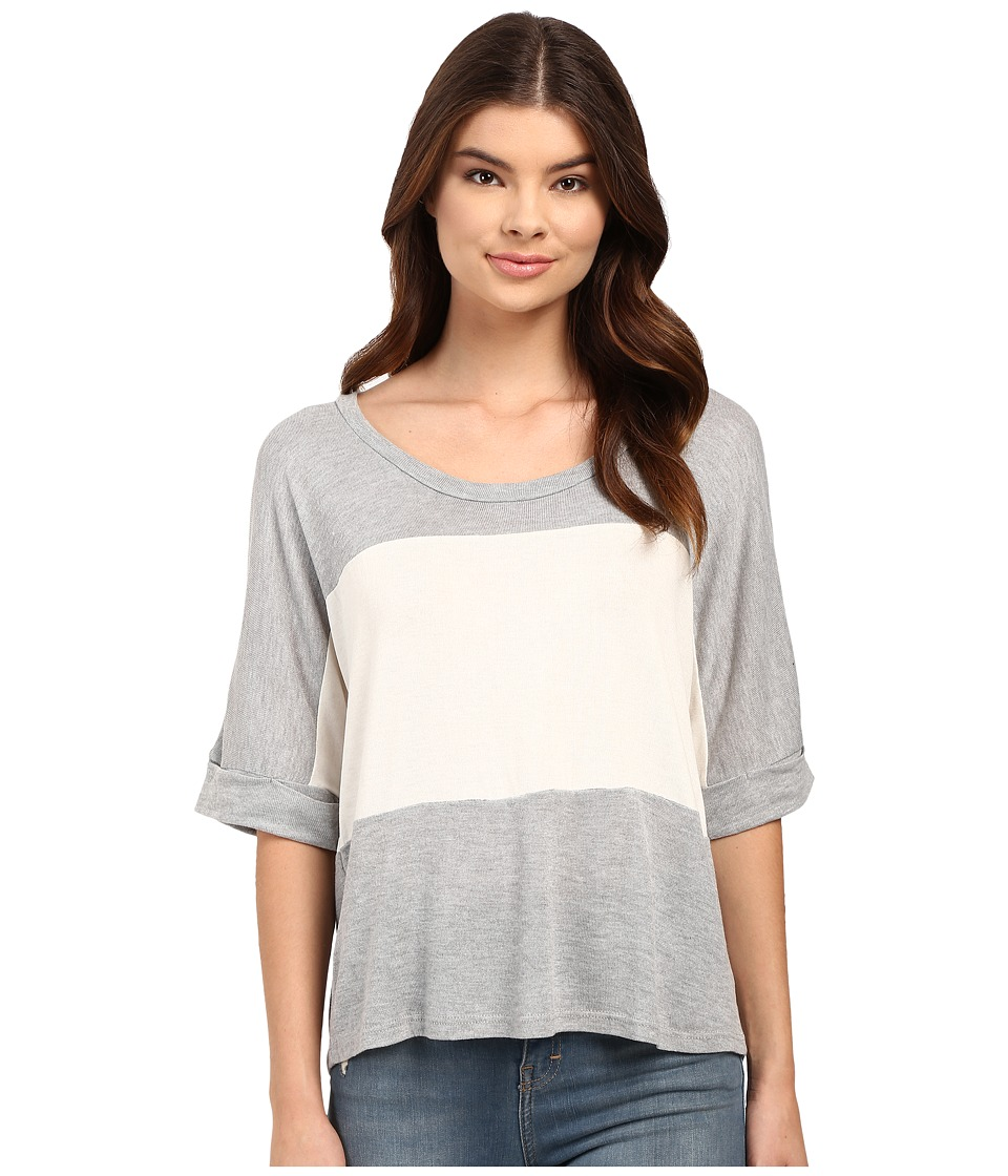 Culture Phit Luz 3/4 Sleeve Color Block Tee (Grey) Women