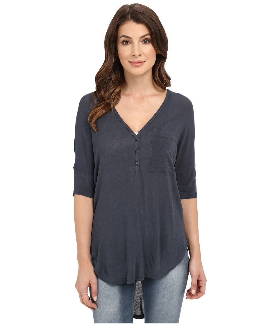 Culture Phit - Alejandra Sheer Jersey Top (Navy) Women's Clothing