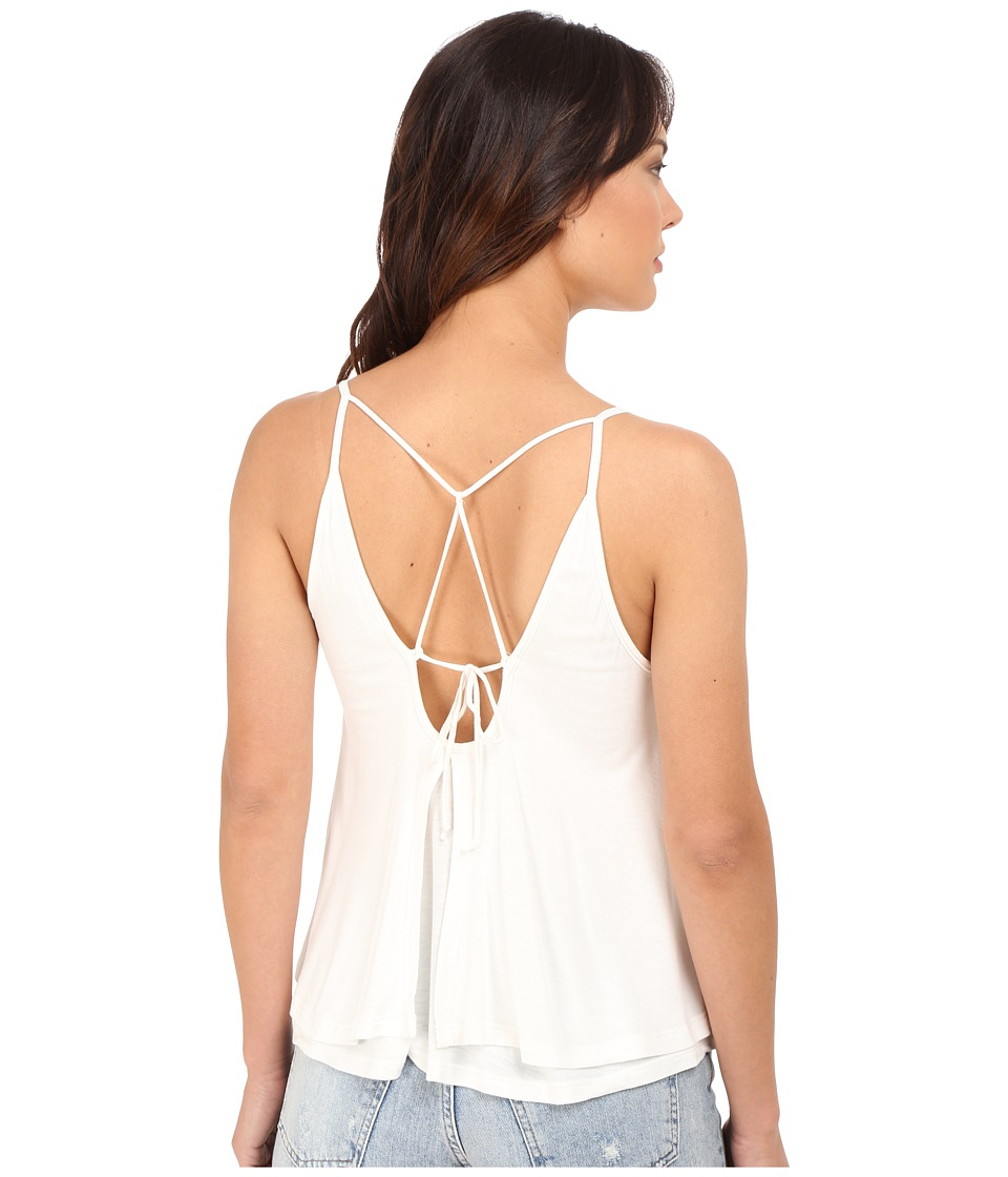 Culture Phit - Anja Layered Sheer Jersey Tank Top (Off-White) Women's Sleeveless