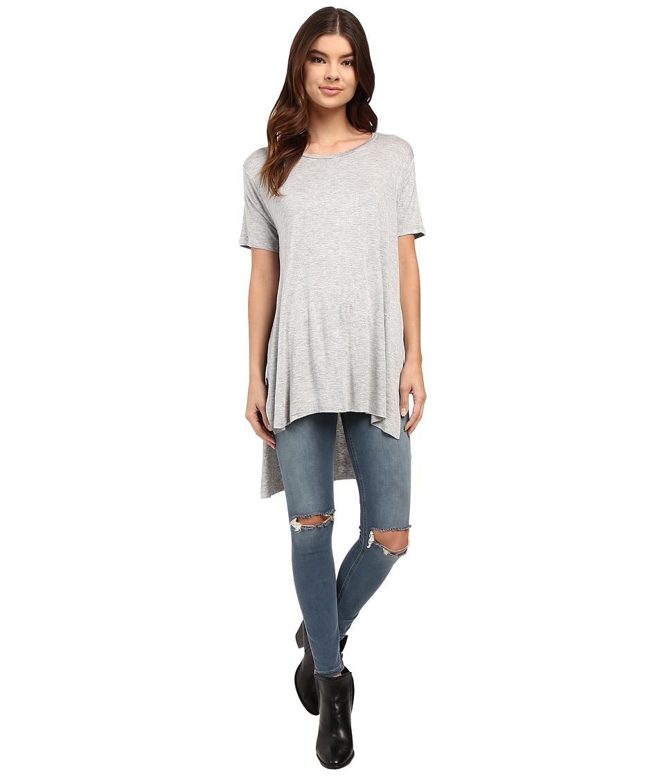 Culture Phit - Iman Long Top with Side Slit (Heather Grey) Women's Sleeveless