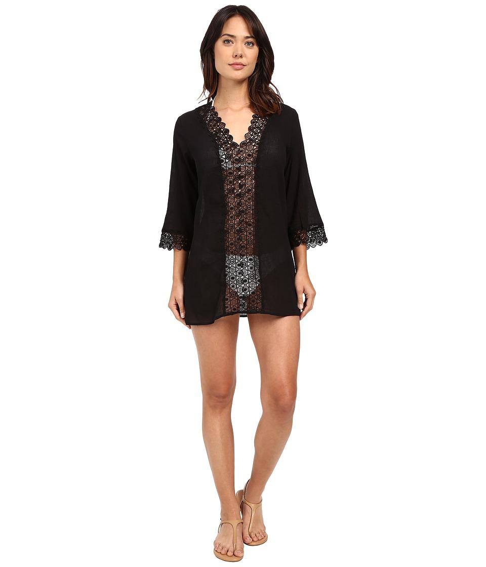 Seafolly - Island Kaftan Cover-Up (Black) Women's Swimwear
