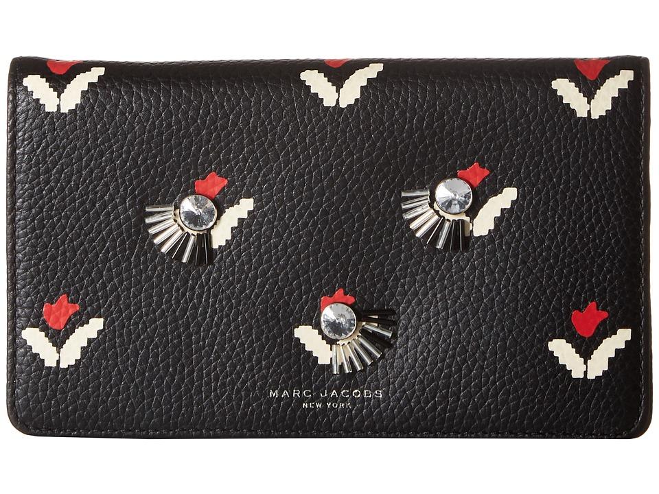 Marc Jacobs - Embellished Tulip Wallet Leather Strap (Black Multi) Wallet Handbags