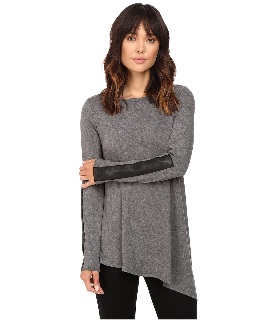 Karen Kane - Asymmetrical Knit Top (Dark Heather Grey) Women's Clothing