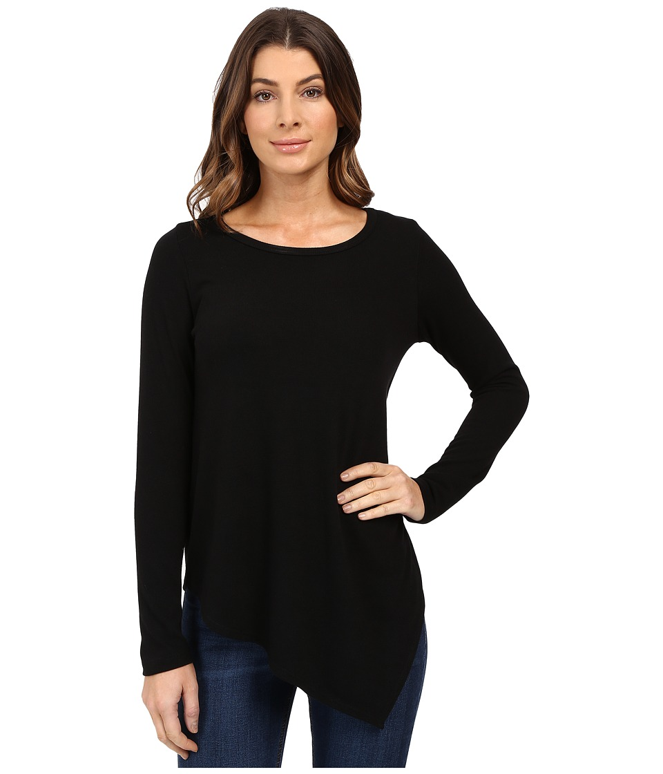 Karen Kane - Long Sleeve Angled Hem Top (Black) Women's Long Sleeve Pullover