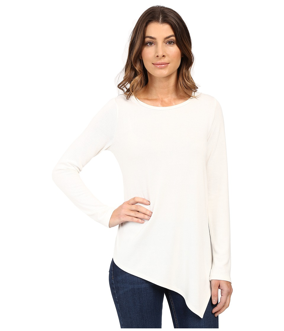 Karen Kane - Long Sleeve Angled Hem Top (Cream) Women's Long Sleeve Pullover