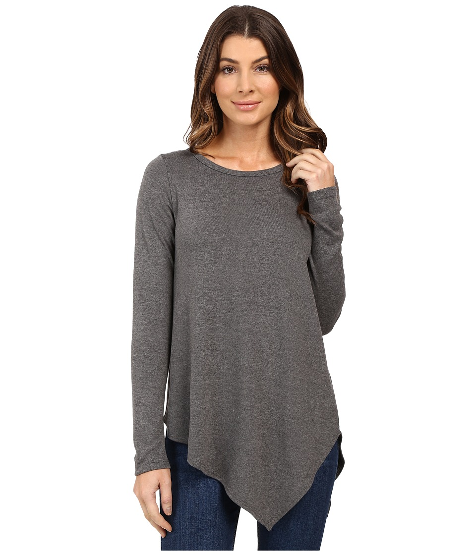 Karen Kane - Long Sleeve Angled Hem Top (Dark Heather Grey) Women's Long Sleeve Pullover