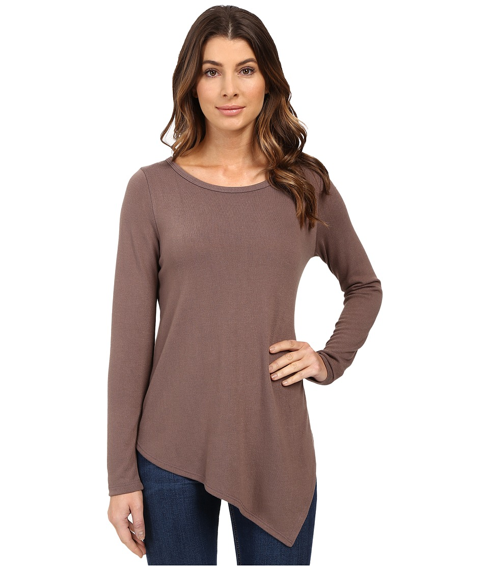 Karen Kane - Long Sleeve Angled Hem Top (Mushroom) Women's Long Sleeve Pullover