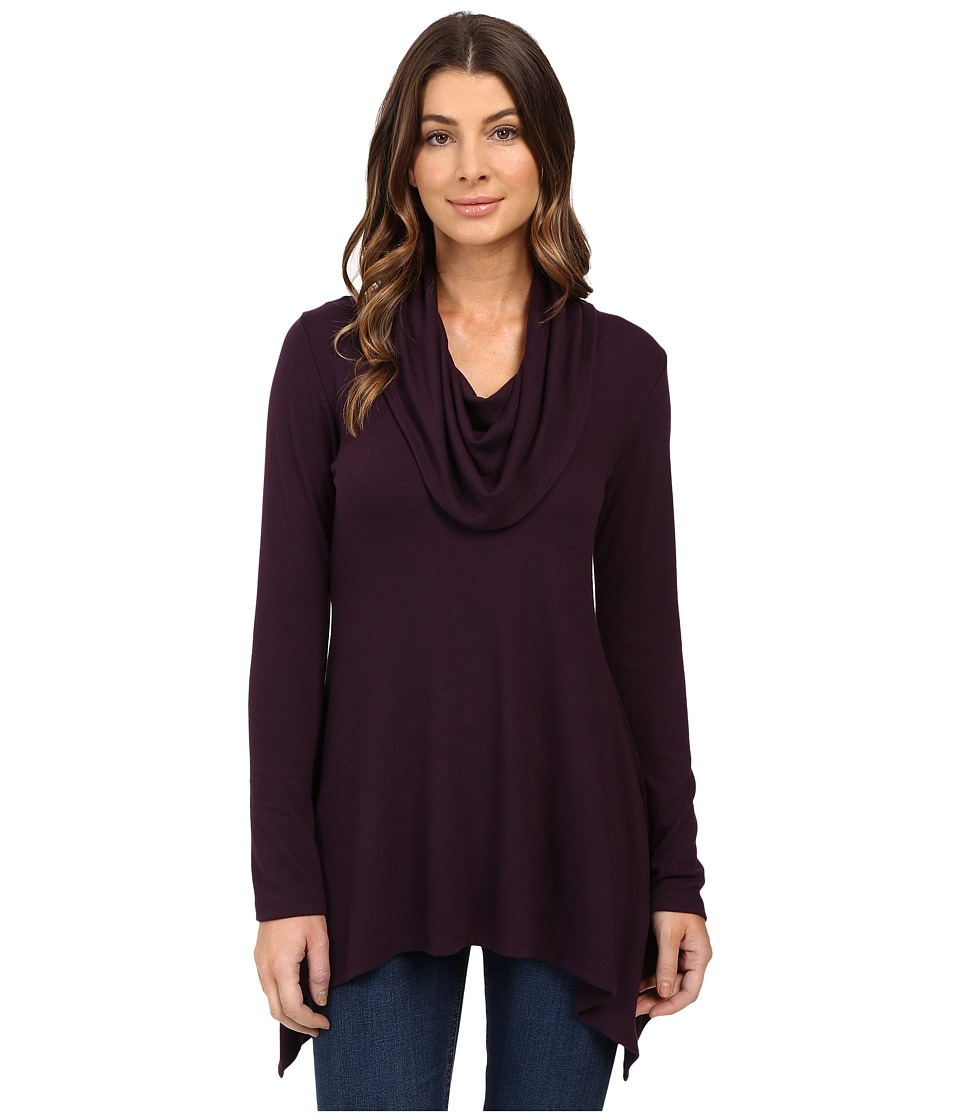 Karen Kane - Cowl Neck Handkerchief Top (Eggplant) Women's Clothing
