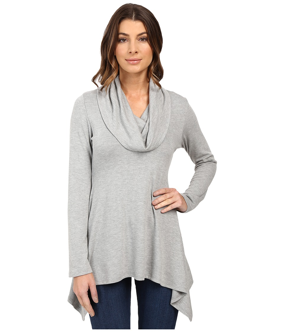 Karen Kane Cowl Neck Handkerchief Top (Light Heather Grey) Women's Clothing