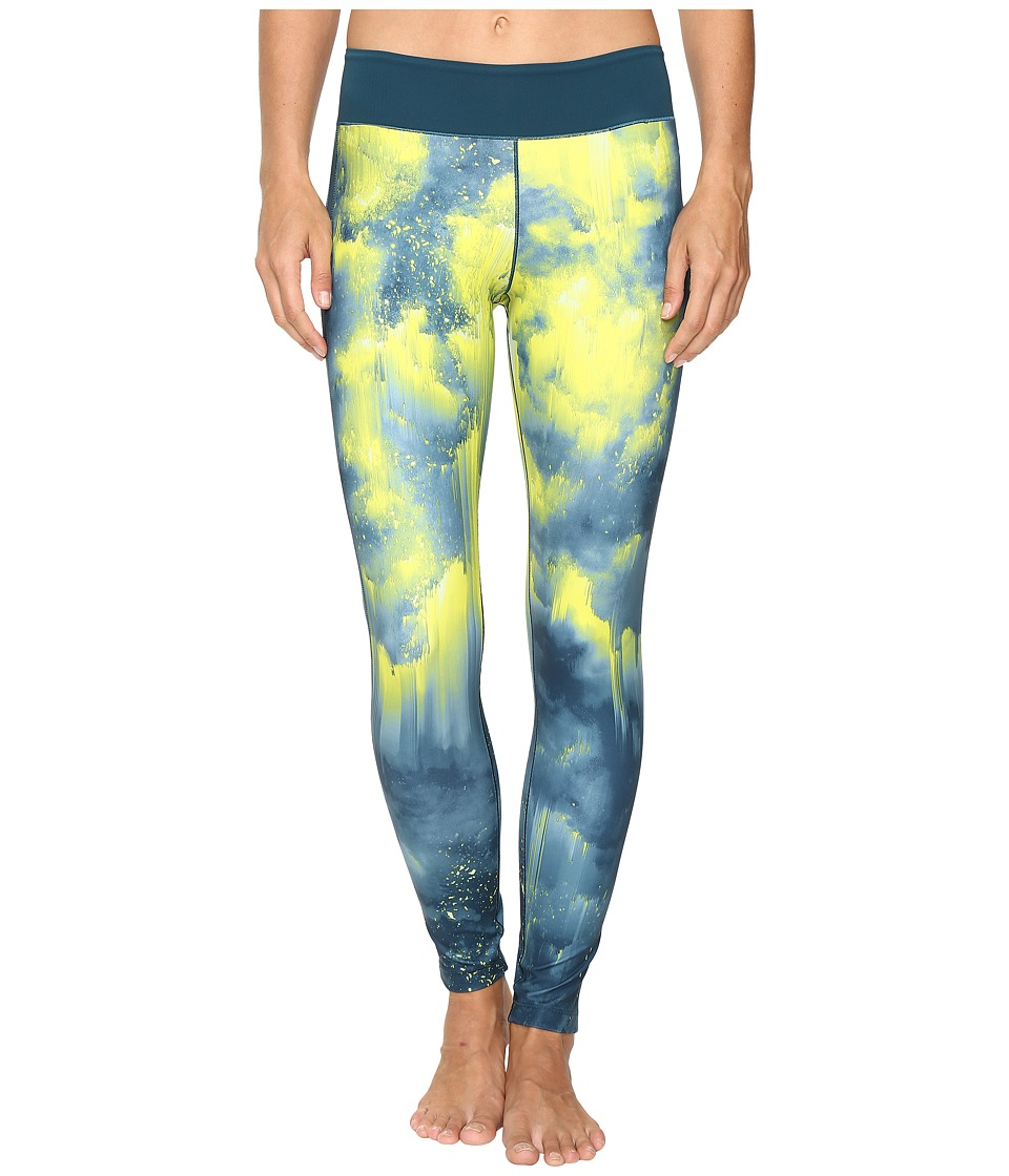 adidas - WOW Drop 3 Long Tights (Vapour Steel/Solar Yellow Print) Women's Workout