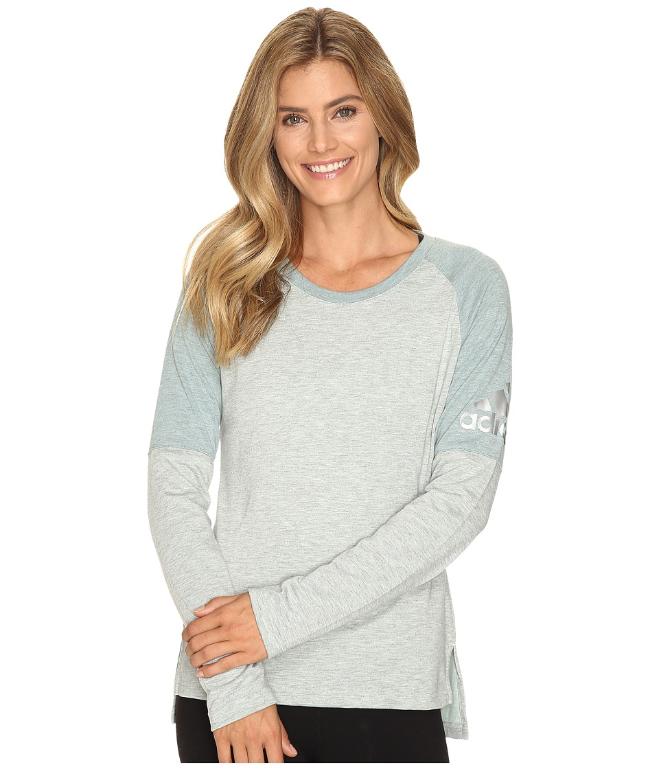 adidas - Performer Cover-Up (Vapour Green/Vapour Steel/Matte Silver) Women's Long Sleeve Pullover