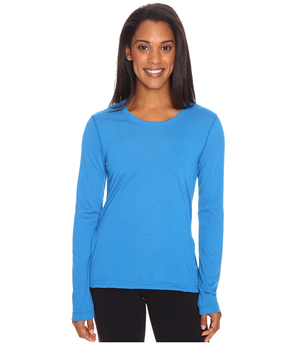 adidas - Ultimate Long Sleeve Side-Slit Tee (Unity Blue/Matte Silver) Women's T Shirt