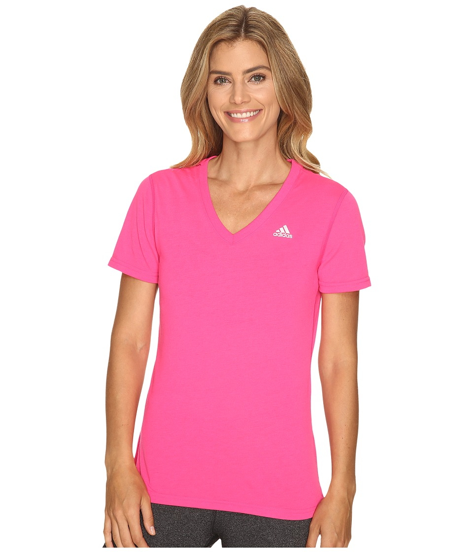 adidas - Ultimate S/S V-Neck Tee (Shock Pink/Matte Silver 2) Women's T Shirt