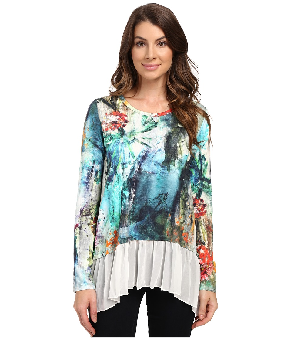 Karen Kane - Painted Hydrangea Sheer Hem Top (Print) Women's Blouse