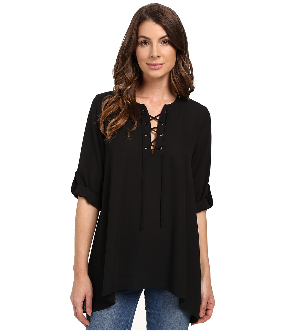 Karen Kane - Lace-Up Roll Tab Top (Black) Women's Clothing