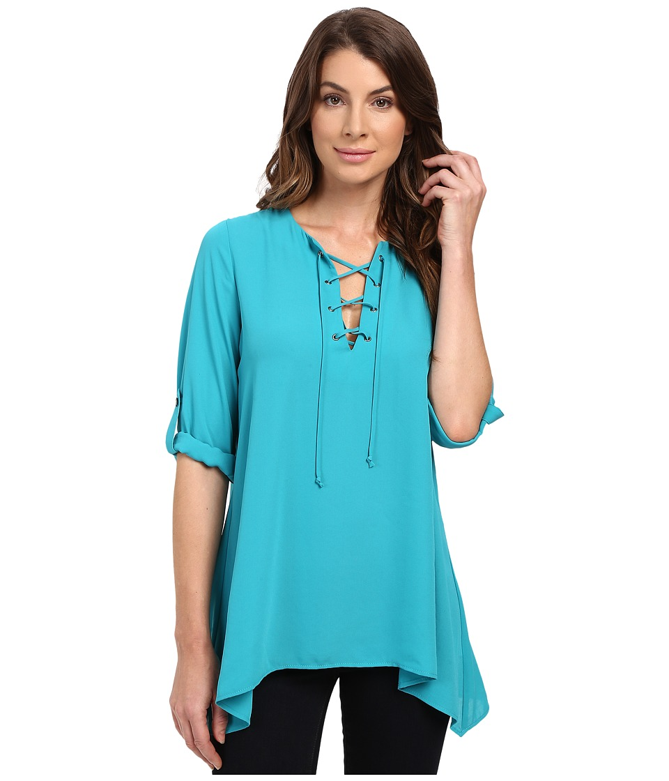 Karen Kane - Lace-Up Roll Tab Top (Teal) Women's Clothing