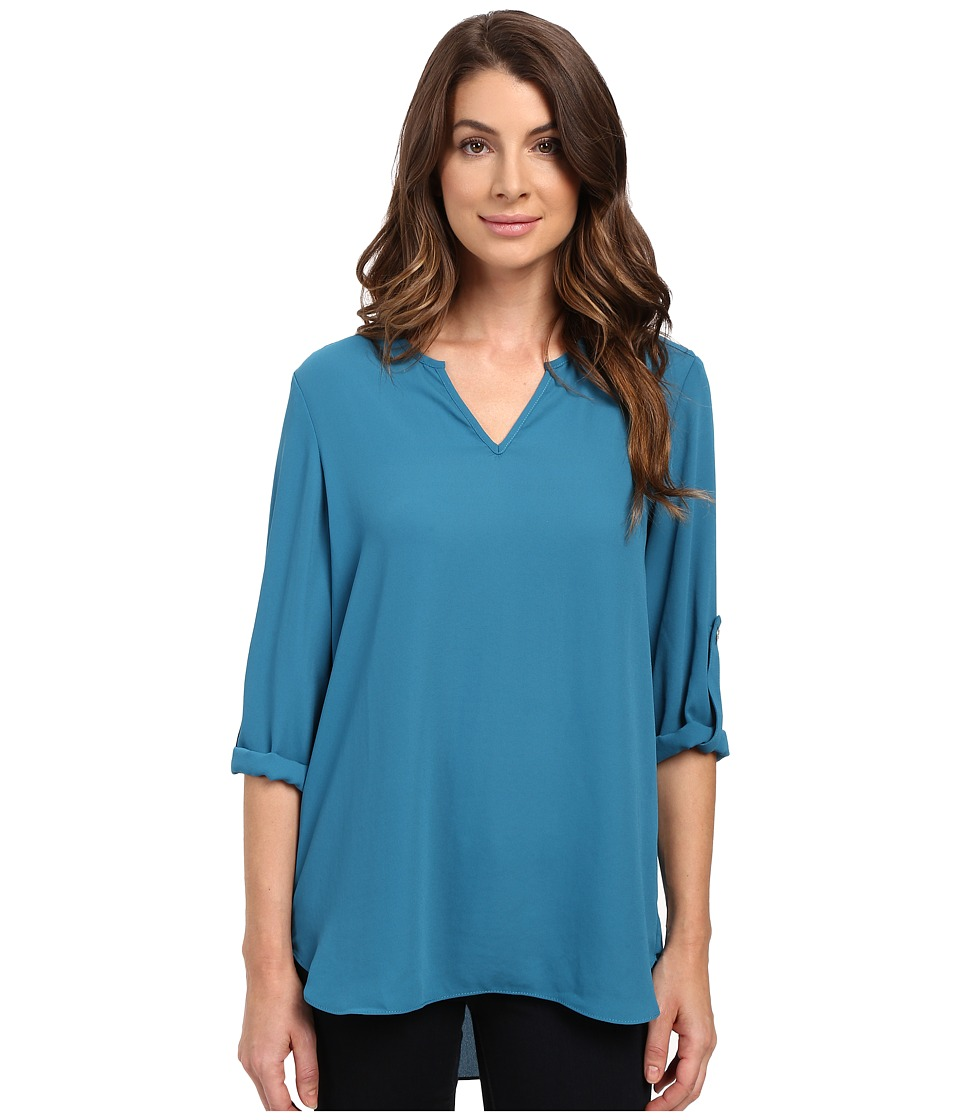 Karen Kane - Roll Tab Shirttail Top (Baltic Blue) Women's Clothing
