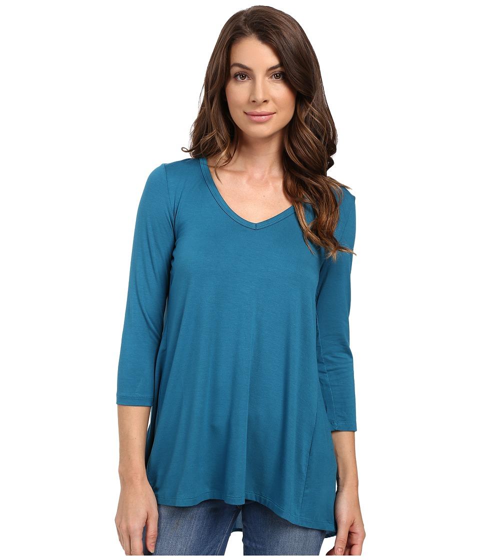 Karen Kane - Shirred Contrast-Back Top (Baltic Blue) Women's Clothing