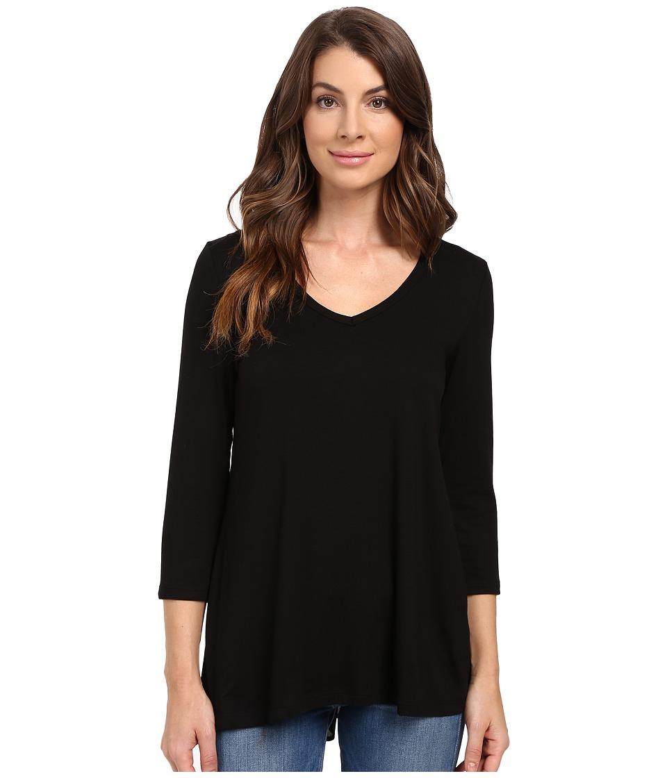 Karen Kane - Shirred Contrast-Back Top (Black) Women's Clothing