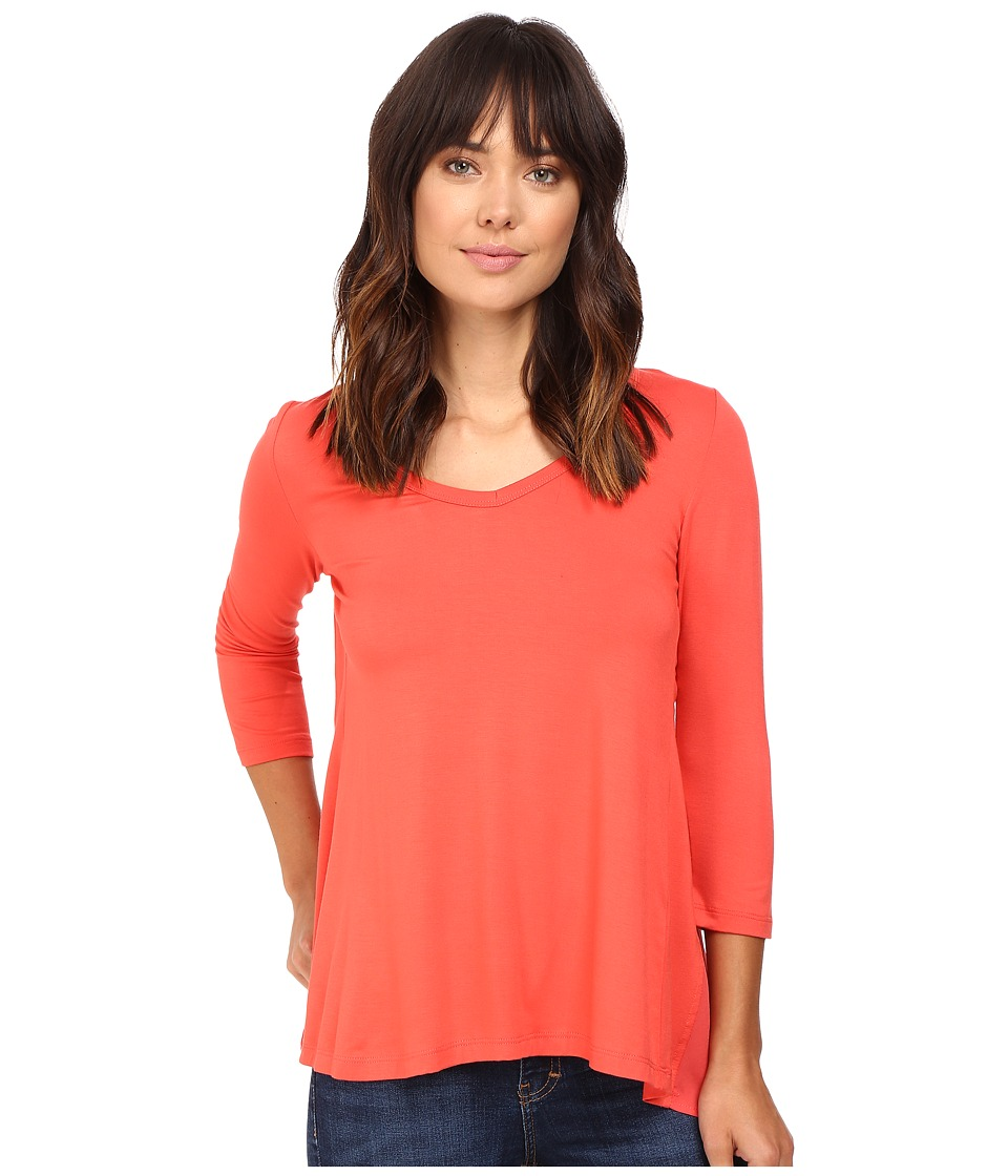 Karen Kane - Shirred Contrast-Back Top (Coral) Women's Clothing