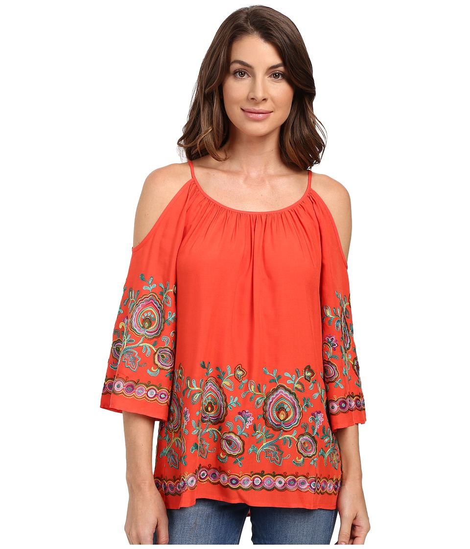 Karen Kane - Riviera Embroidered Cold Shoulder Top (Coral) Women's Clothing