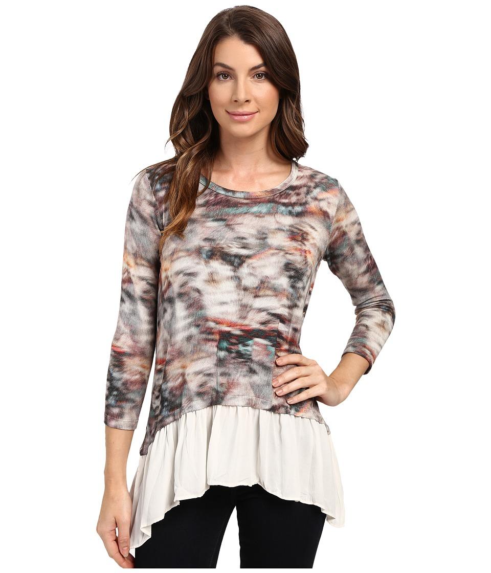 Karen Kane - 3/4 Sleeve Sheer Hem Top (Print) Women's Clothing