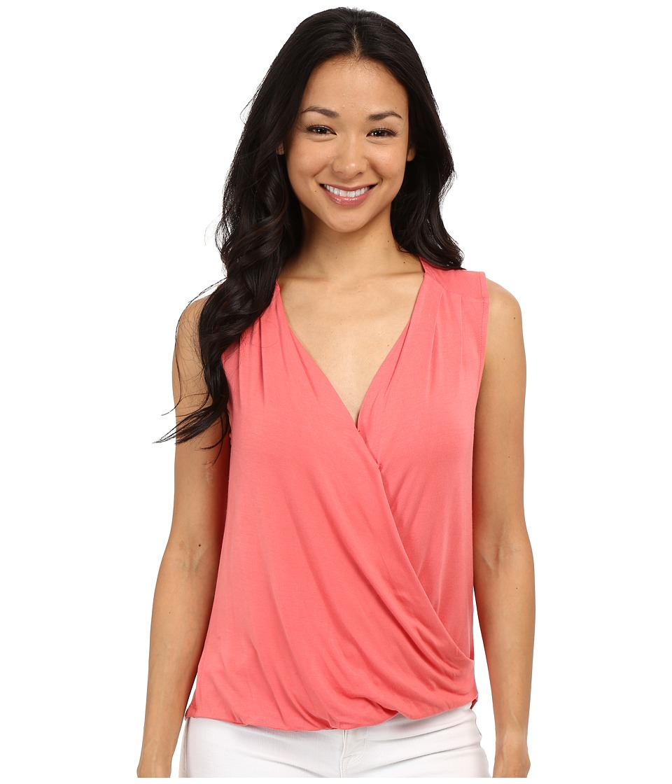 Adrianna Papell - Solid Wrap Top (Light Coral) Women's Sleeveless