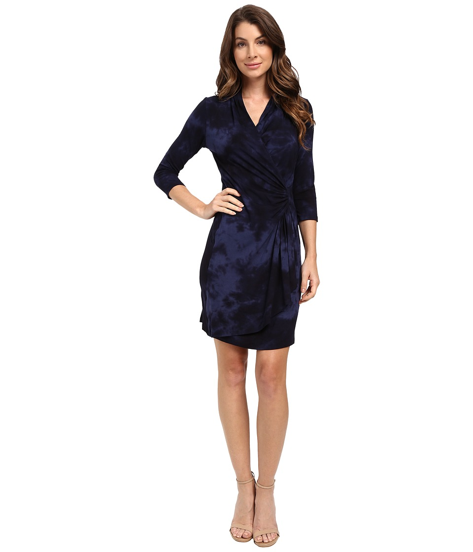 Karen Kane - 3/4 Sleeve Cascade Wrap Dress (Tie-Dye) Women's Dress