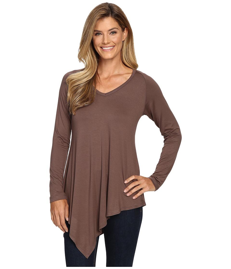Karen Kane - Asymmetrical V-Neck Tee (Mushroom) Women's T Shirt