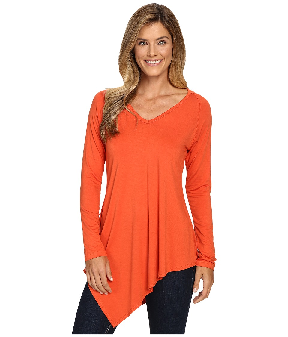 Karen Kane Asymmetrical V-Neck Tee (Pumpkin) Women