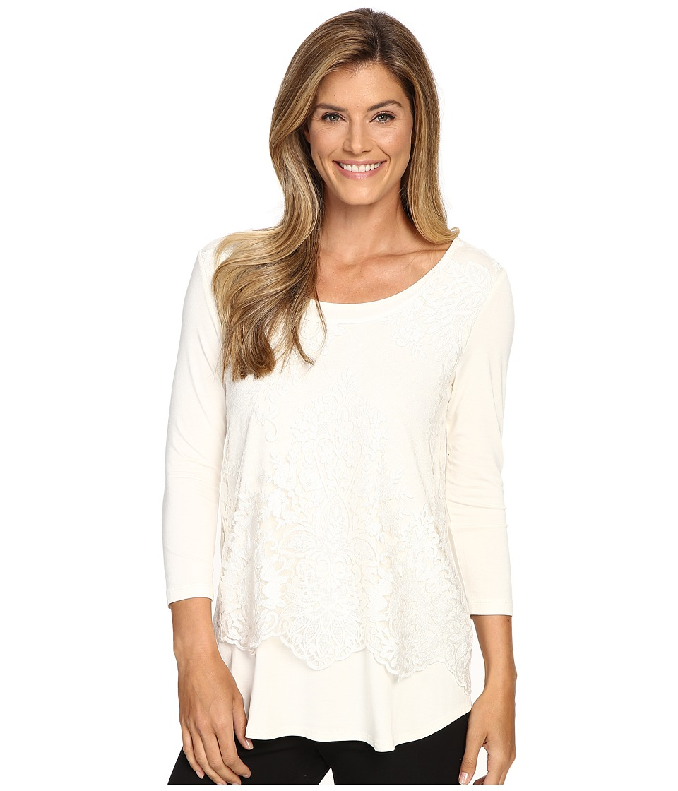 Karen Kane - Lace Overlay Top (Cream) Women's Clothing