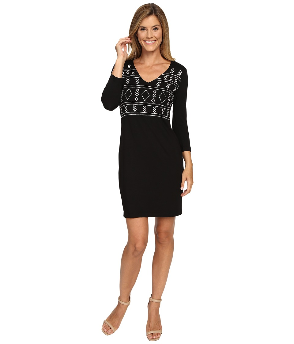 Karen Kane Embroidered V-Neck Sheath Dress (Black/Cream) Women
