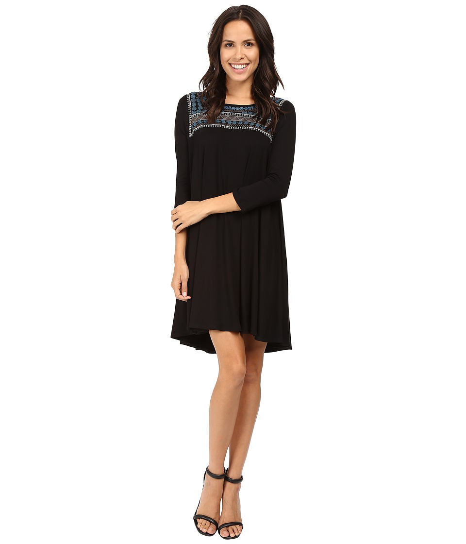 Karen Kane Embroidered Maggie Trapeze Dress (Black) Women