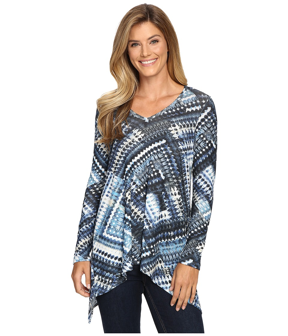 Karen Kane - Blue Diamond Hi-Lo Top (Print) Women's Clothing