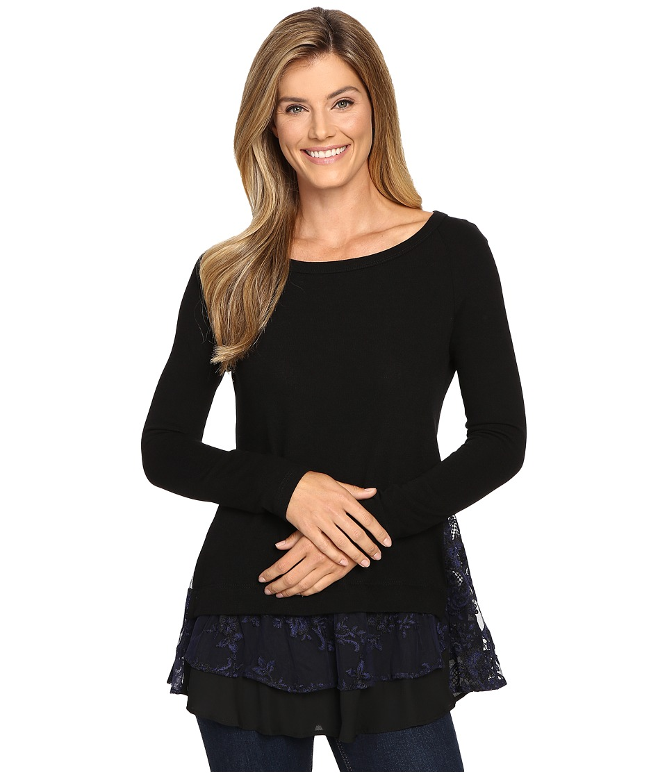 Karen Kane - Lace Inset Sweater (Black/Navy) Women's Long Sleeve Pullover