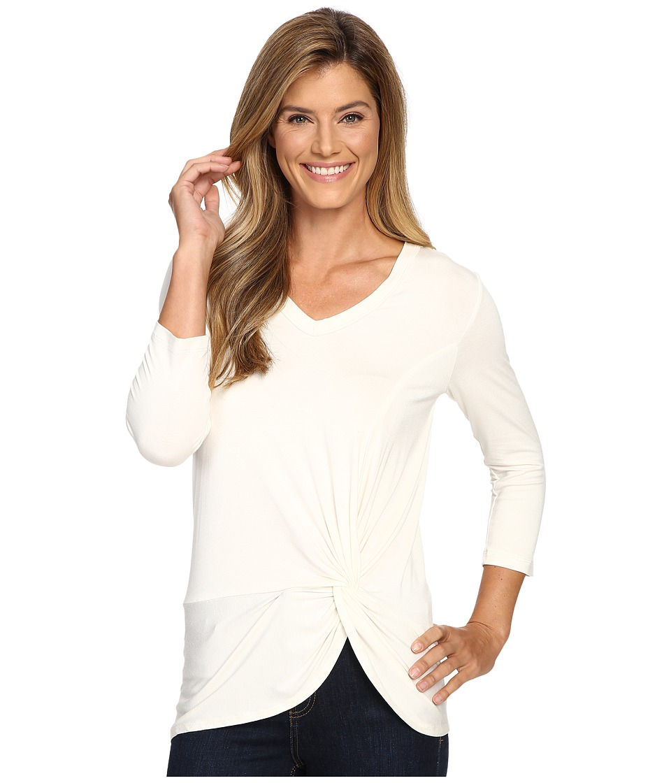Karen Kane - V-Neck Side Twist Top (Cream) Women's Clothing