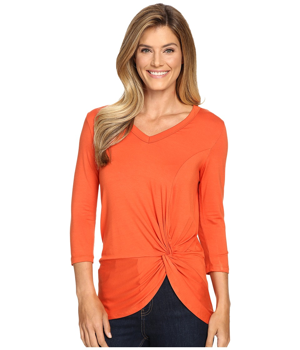 Karen Kane - V-Neck Side Twist Top (Pumpkin) Women's Clothing