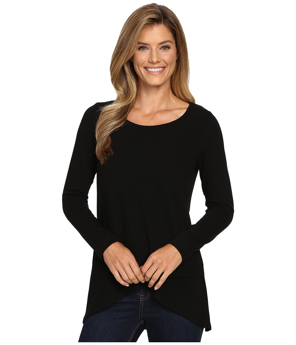 Karen Kane - Long Sleeve Asymmetrical Hem Top (Black) Women's Clothing