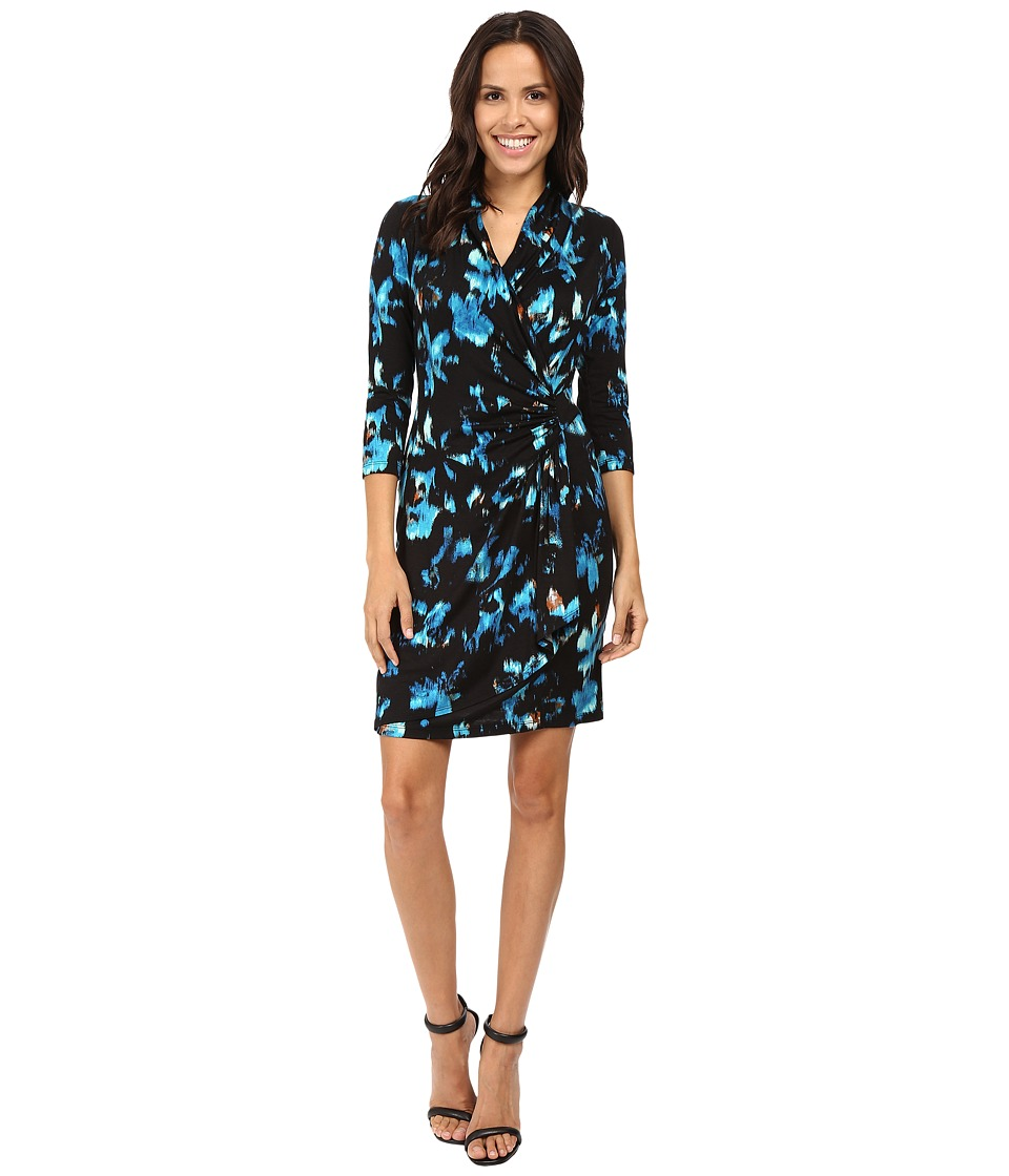 Karen Kane - Costa Maya Cascade Wrap Dress (Print) Women's Dress