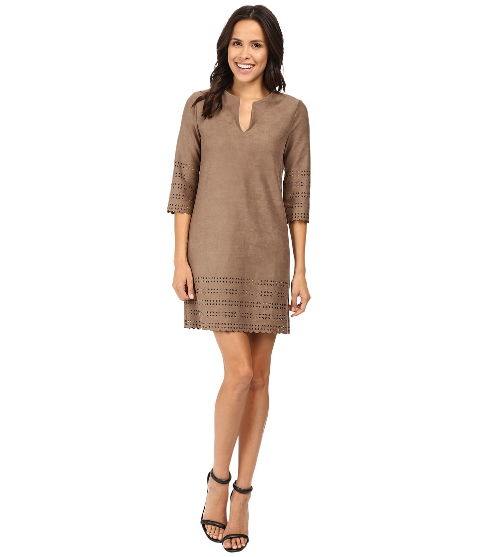 Karen Kane - Laser-Cut Faux Suede Shift Dress (Mushroom) Women's Dress